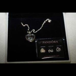 Pandora Silver Floating Heart Locket with Charms